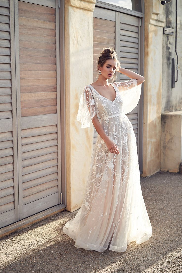 Anna Campbell Bridal Amelie Dress | Wanderlust Collection with bat wing cape fea…