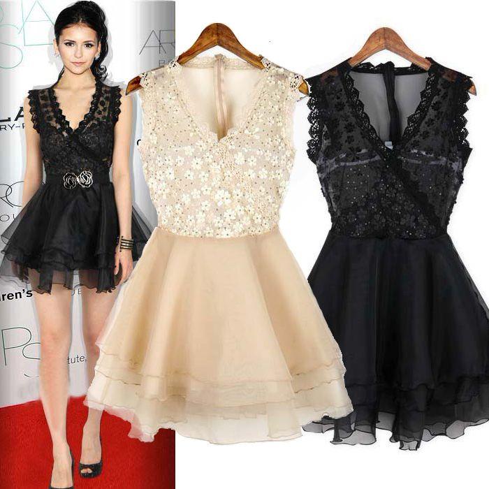 Pretty Black Lace Ball Gown Mini Fashion Style Day To Night Dress