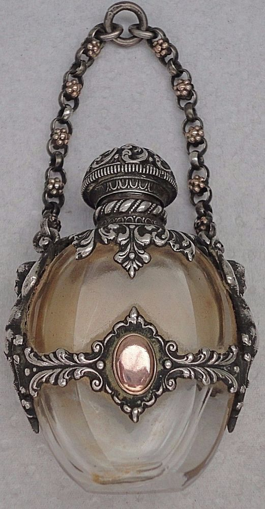 ANTIQUE LOVELY STERLING SILVER CHERUBINS&GLASS CHATELAINE PERFUME SCENT BOTTLE #2ndEmpire #900