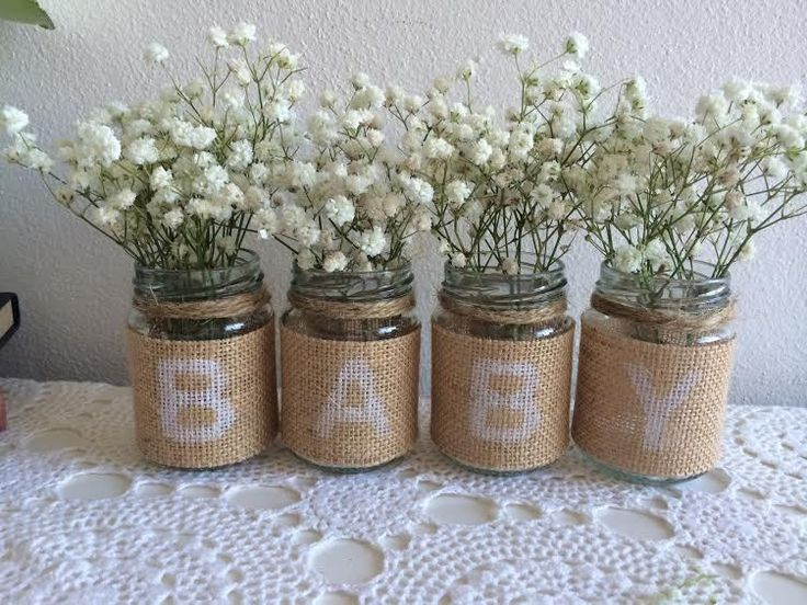 Lovely 4 Small Glass Jars Rustic Burlap BABY Vintage Candles Vases Baby Shower