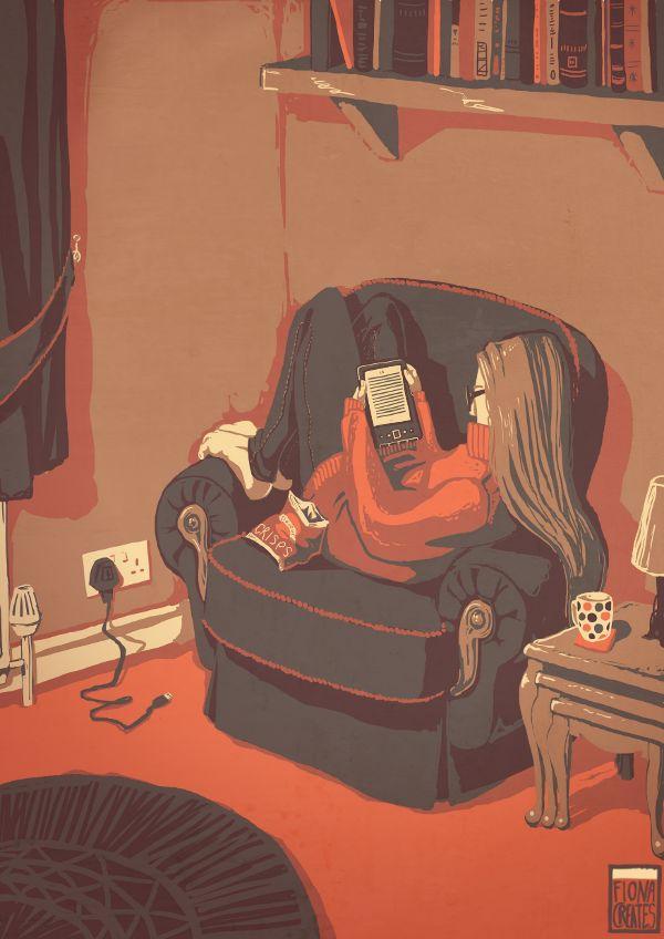 Digital reading / Lectura digital (ilustración de Fiona Creates) #biblioteques_UVEG