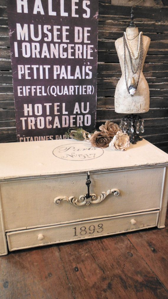 SOLD)))PARIS No.517   1893   French Chic Repurposed Trunk Chest Coffee Table  RARE Bottom Drawer