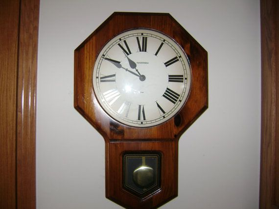 vintage verichron wall clock with chime and pendulum 55 on wall clocks id=95502