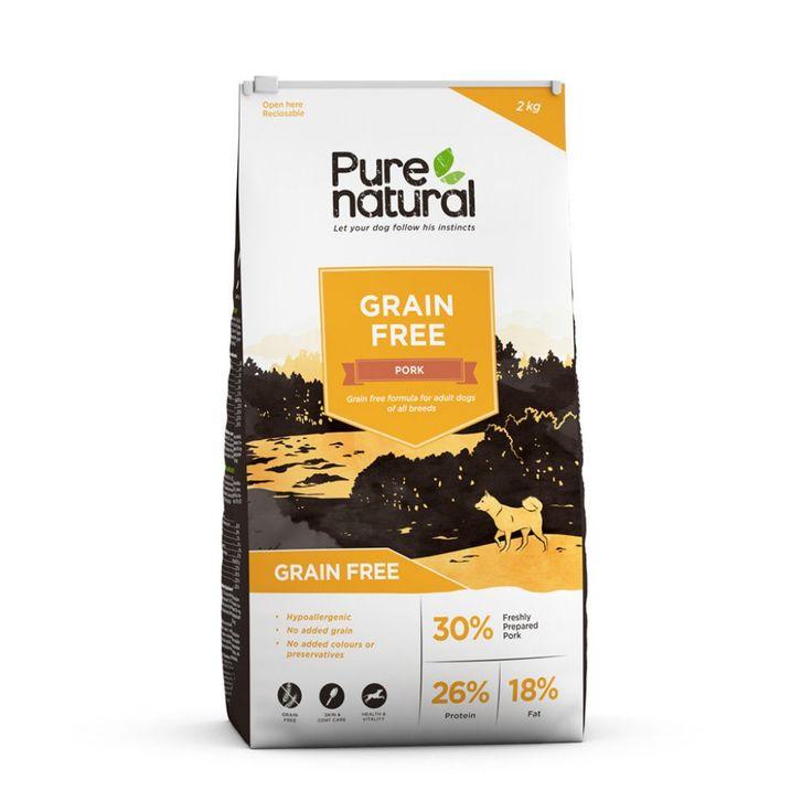 Purenatural Grain Free Pork -kuivaruoka koiralle. Hypoallergeeninen, viljaton ja herkullinen koiranruoka erityisesti aktiivisille koirille.