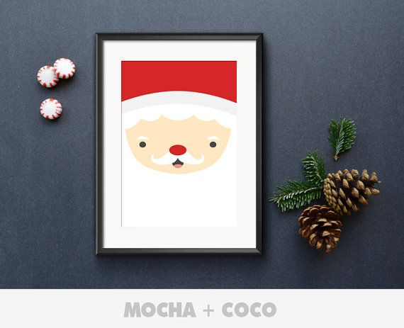 Santa Claus Face Illustration Poster, New Year Eve Wall Art, Christmas Wall Decor, Kids Room, Printable Mocha + Coco, INSTANT FILE DOWNLOAD