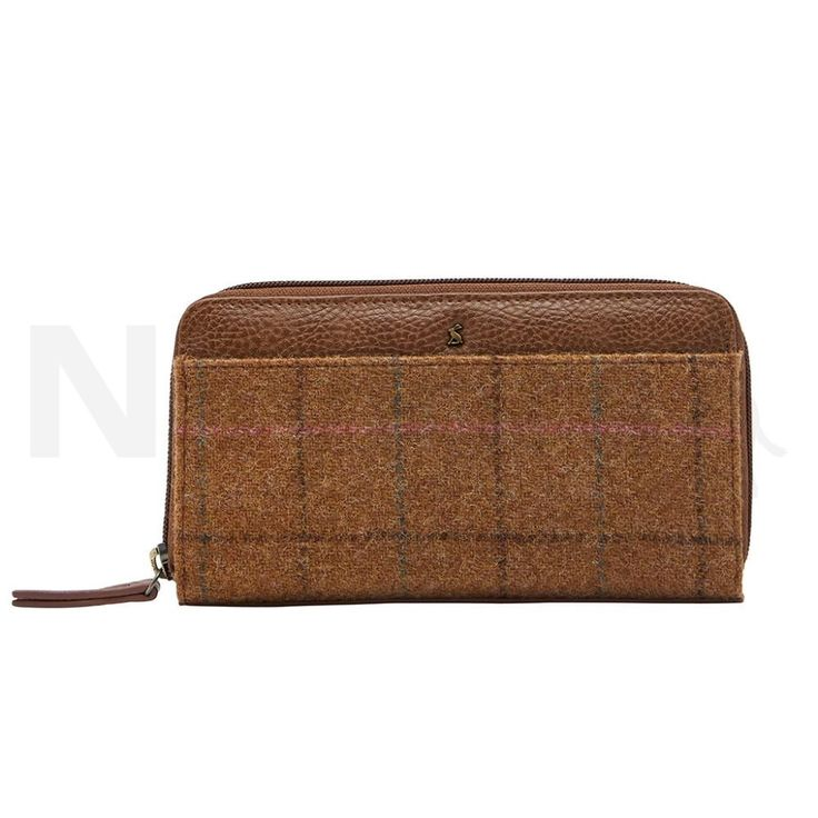 Joules Ladies Fairford Tweed Purse Tan Check