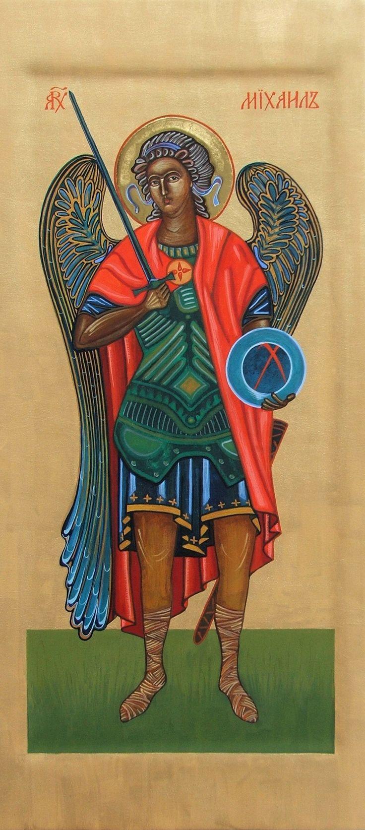 Ikona+Archanioła+Michała+wykonana+w+tradycyjnej+technice+tempery+jajecznej+na+desce,+napisana+pigmentami+mineralnymi+na+gruncie+kredowo-klejowym,+przedstawia+Archanioła+Michała+odzianego+w+purpurowy+płaszcz,+trzymającego+miecz+i+glob+ziemski+z+inicjałami+Chrystusa.