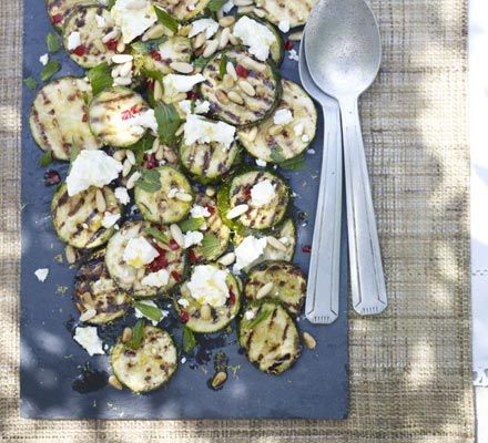 Grilled Zucchini with Pine Nuts & Feta
