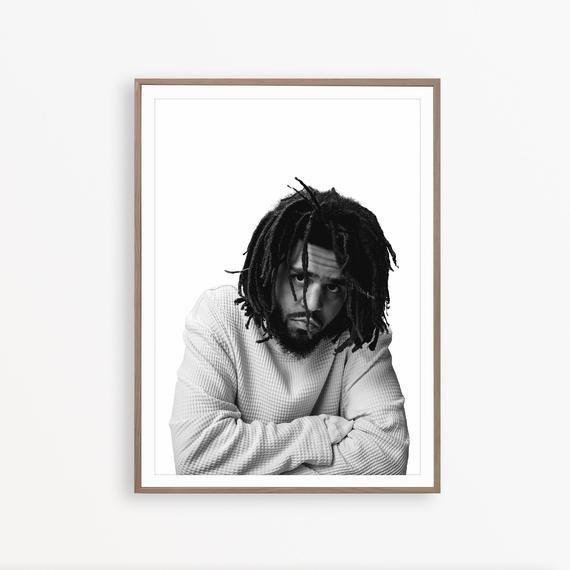 J-Cole Print Portrait  Rapper Minimalist Hip Hop Art