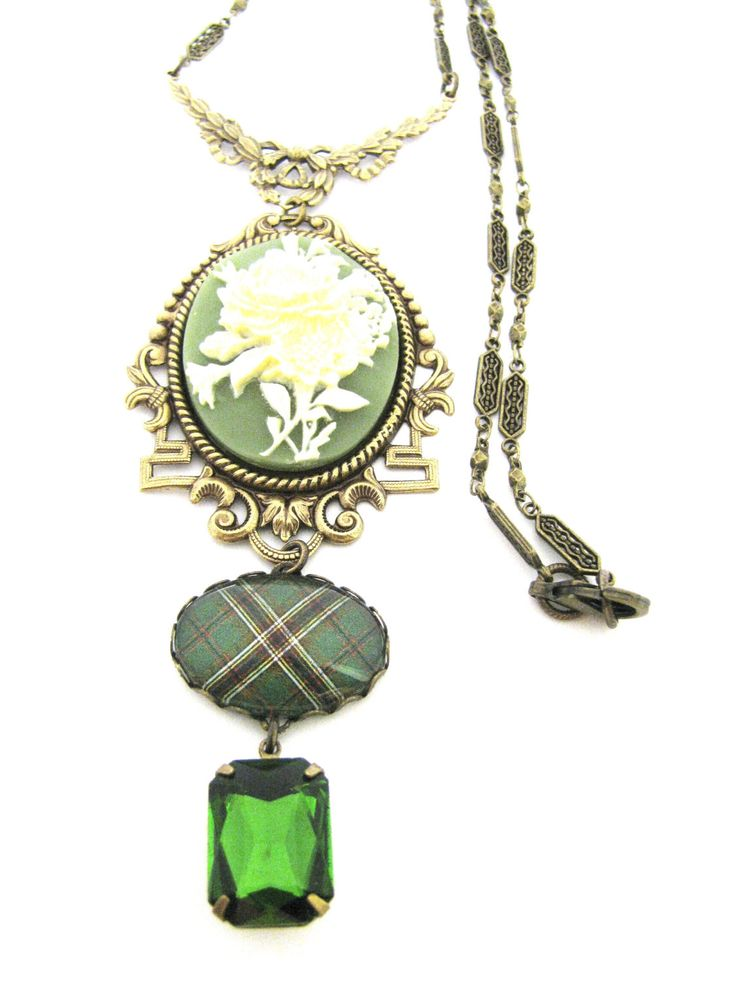 Scottish and Irish Tartan Jewelry - Tartans Special Occasion Collection - Irish Murphy Floral Cameo Swag Necklace w/Olivine Glass Gem Charm by DivaDesignsInc on Etsy