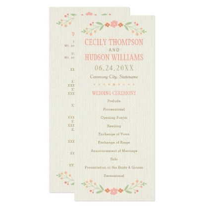 Wedding Ceremony Program | Country Florals Pink - spring wedding diy marriage customize personalize couple idea individuel