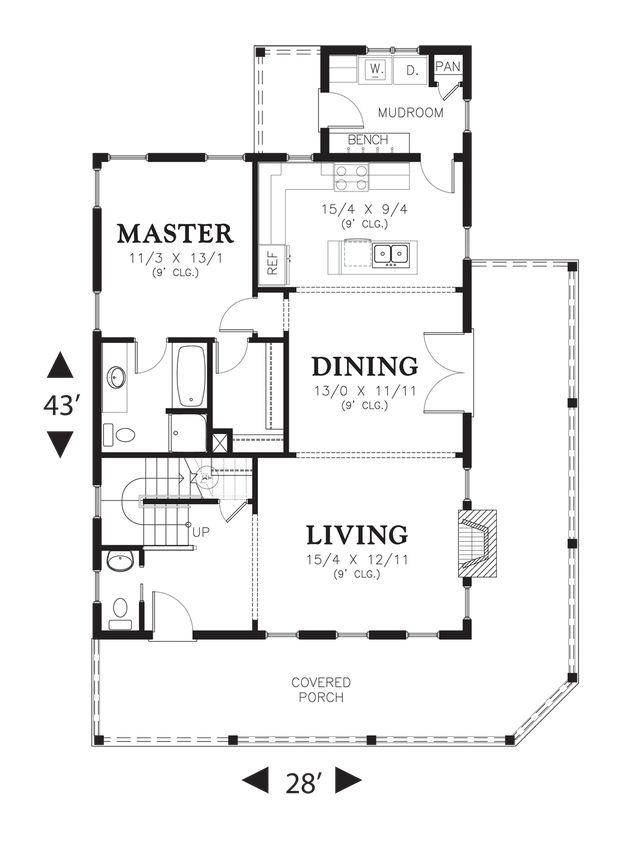 Main floor plan of mascord plan 21115 the osprey open for House plans with mud rooms