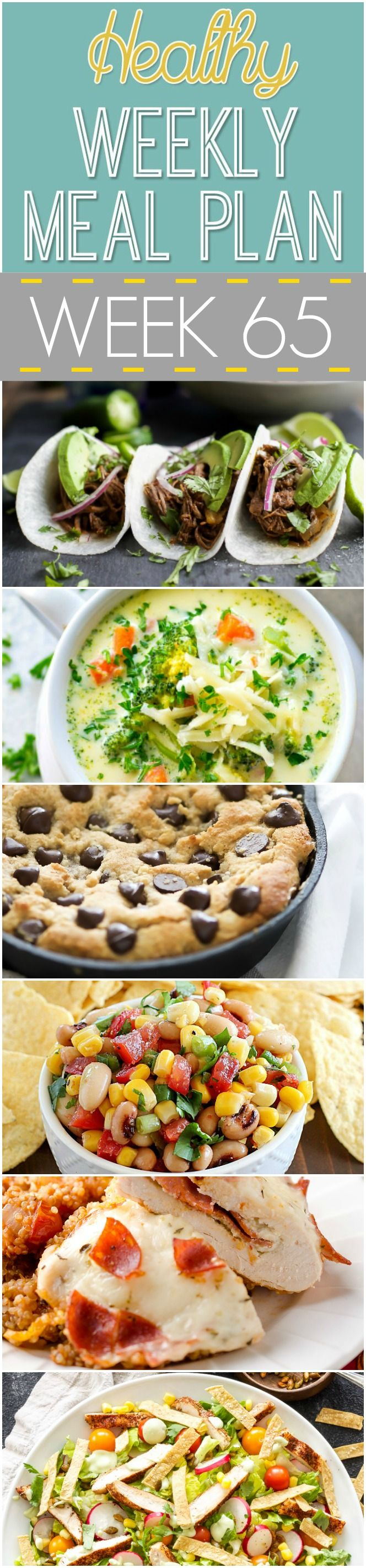 Healthy Meal Plan Week 65 starts with Lemon Rosemary White Bean Toasts with Mushrooms, pair with a side salad and you are on your way! Make sure to save room for Deep Dish Salted Caramel Chocolate Chip Blondies! Healthy enough you can have seconds!
