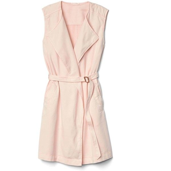 Gap Women TENCEL™ Belted Trench Vest (3.920 RUB) ❤ liked on Polyvore featuring outerwear, vests, pink trench coat, sleeveless trench vest, waist cincher vest, lapel vest and tie belt