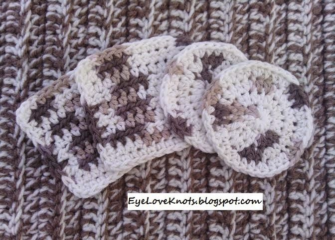 EyeLoveKnots: Crochet Square and/or Round Facial Scrubbies in Sand Dune Ombre by Bernat - FREE Pattern