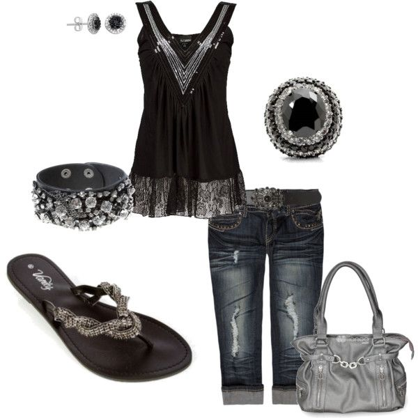 Black w/ Rhinestones, created by amyjoyful1 on Polyvore (Love the shirt!)