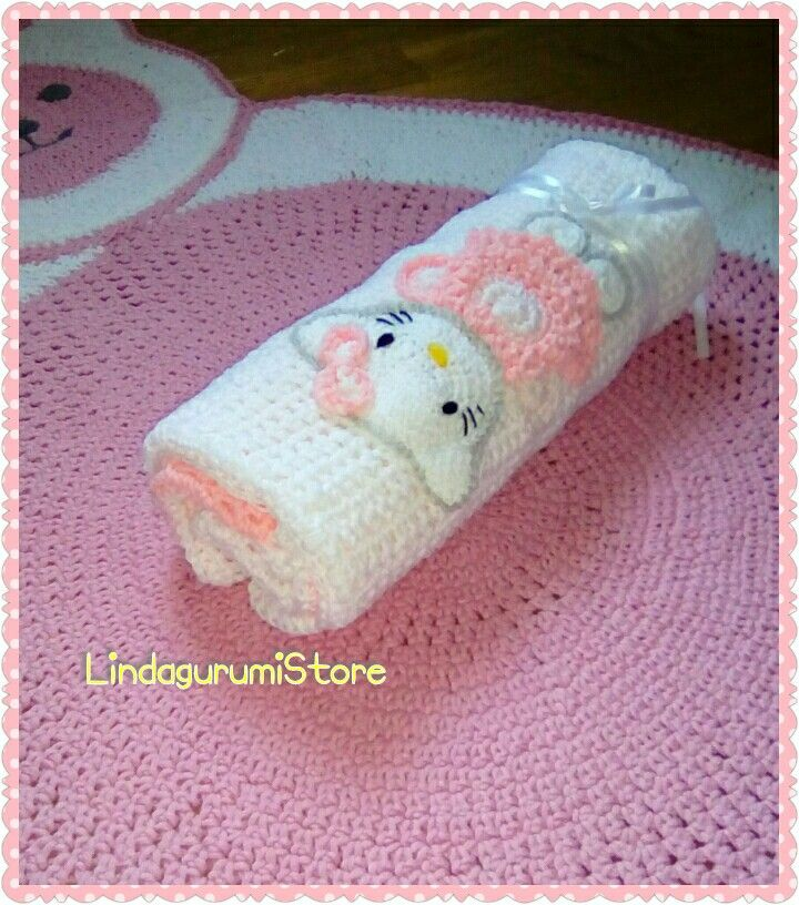 "Crochet Baby Girl Pink and White Blanket Cat Design ""Hello Kitty "" . Material baby soft yarn. Dimension 70*70 cm My own design by LindagurumiStore #crochet #hellokitty #catcrochet #patchwork #pinkblanket #lindagurumistore"