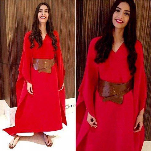 Sonam In a Red Payal Khandwala Dress
