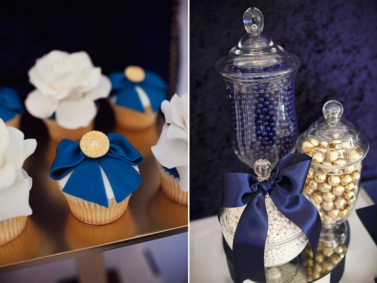 Navy And Gold Bridal Shower Decorations