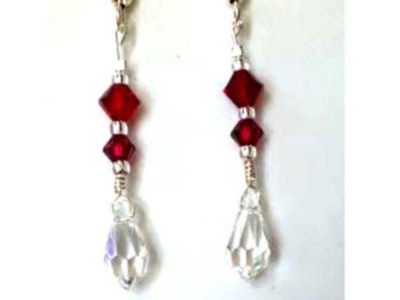 Victorian Wedding Earrings of Ruby w Clear by MagdaleneJewels, $36.00