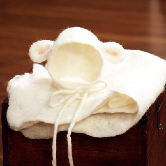 Hand felted newborn lamb bonnet