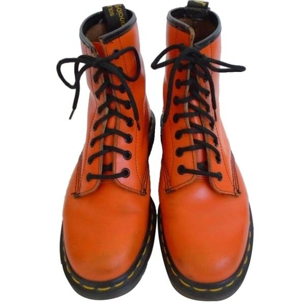 Pre-owned Dr. Martens Bright Edgy Vintage Orange Boots ($141) ❤ liked on Polyvore featuring shoes, boots, orange, dr martens shoes, bright shoes, dr. martens, bright orange shoes and vintage footwear