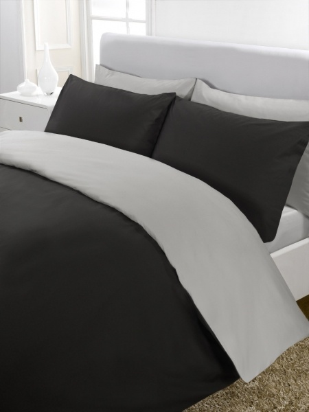 Plain Dyed Black and Grey Bedding - Reversible  £12.99