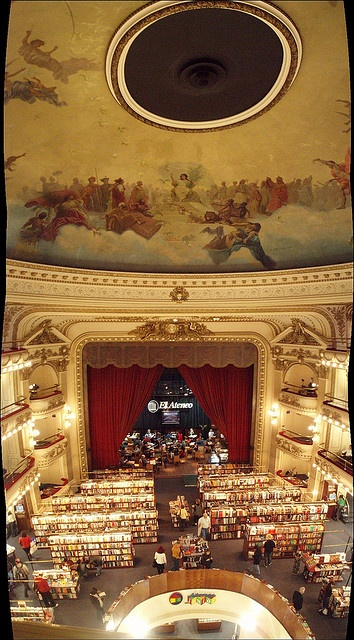 The bookstore El Ateneo in Buenos Aires was a real theatre and then a movie theatre once before getting a bookstore.