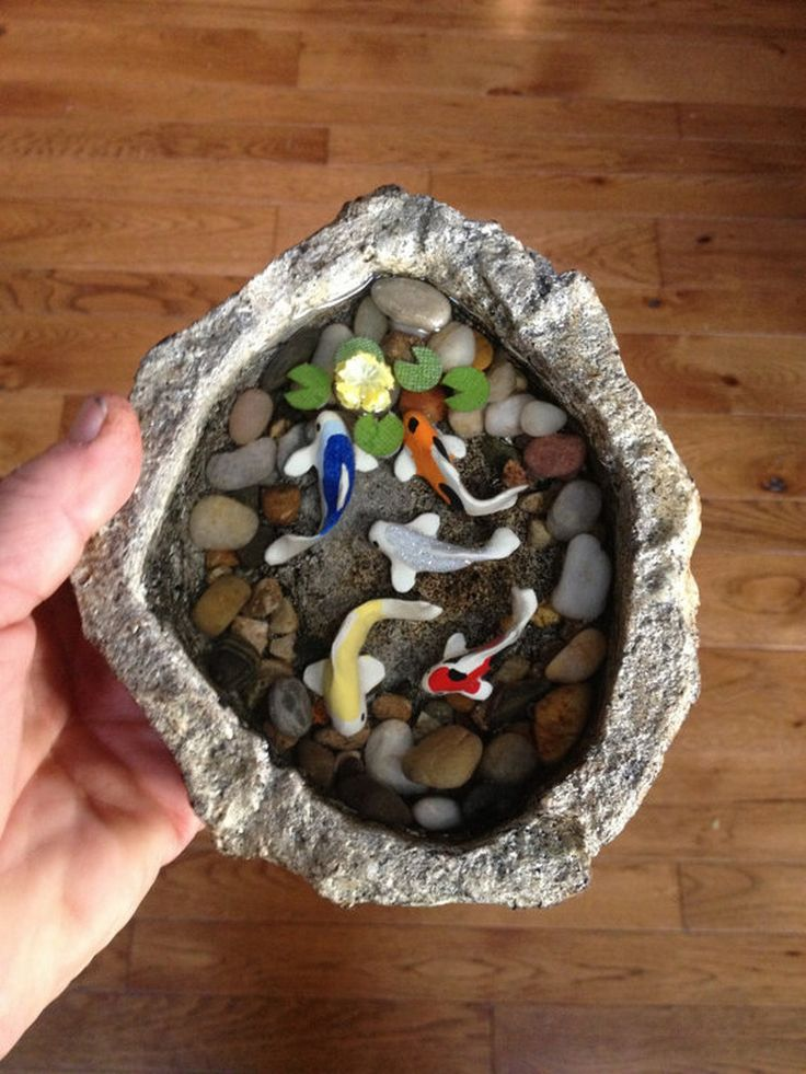 611 best tiny fairy gardens images on pinterest fairies for Miniature fish pond