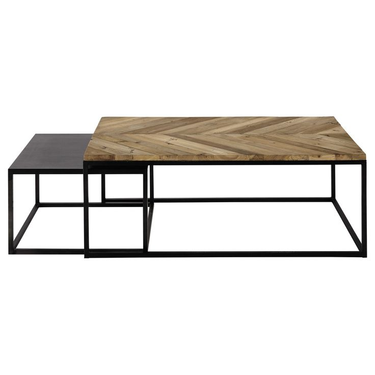 2 pull-out coffee tables in recycled wood and metal L 60 cm and L 120 cm |  Houses of the world