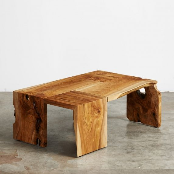 A butternut four-fold coffee table. This tree was salvaged in Willamette Valley, Oregon.