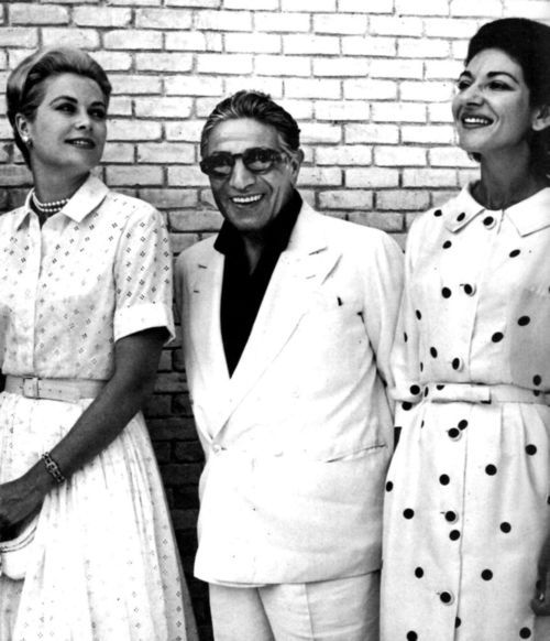 Grace of Monaco with Aristotele Onassis and Maria Callas during a vacation in Spain, 1961.