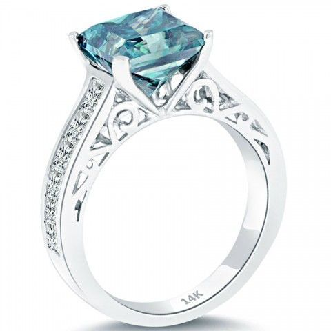4.88 Carat Fancy Blue Princess Cut Diamond Engagement Ring 14k White Gold - Fancy Color Engagement Rings - Engagement - Lioridiamonds.com