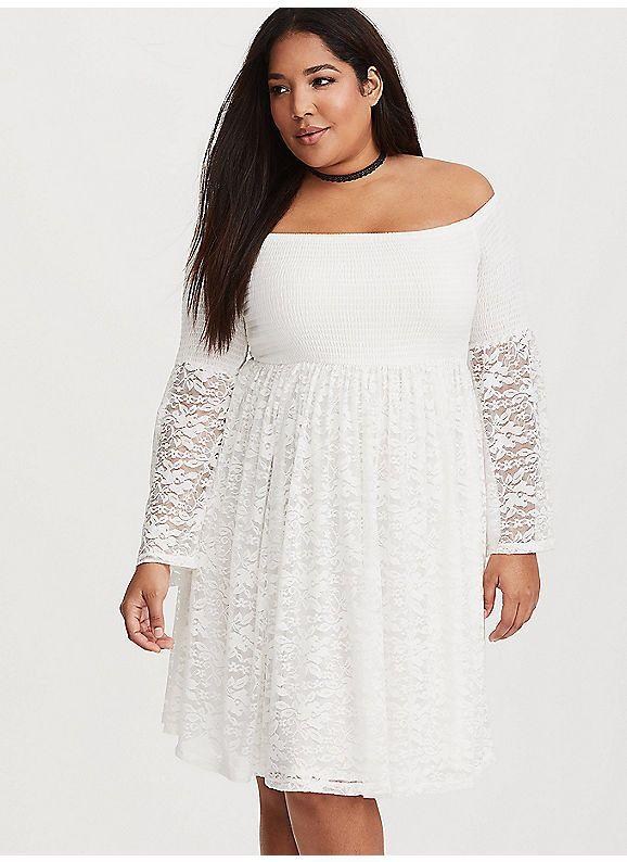 c382c0088fb TORRID   White Lace Shirred Skater Dress