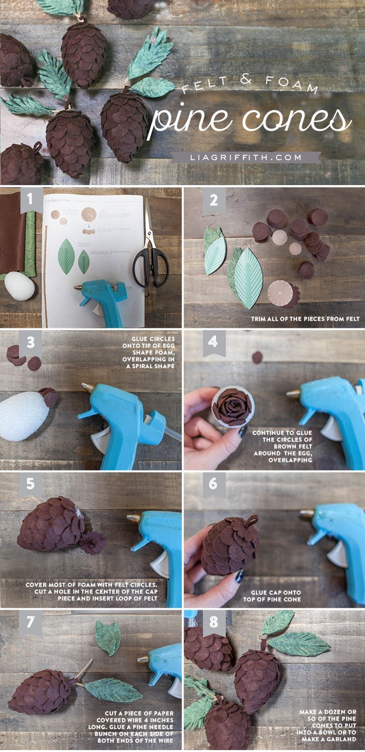 Paper covered craft wire - Diy Felt Pine Cones
