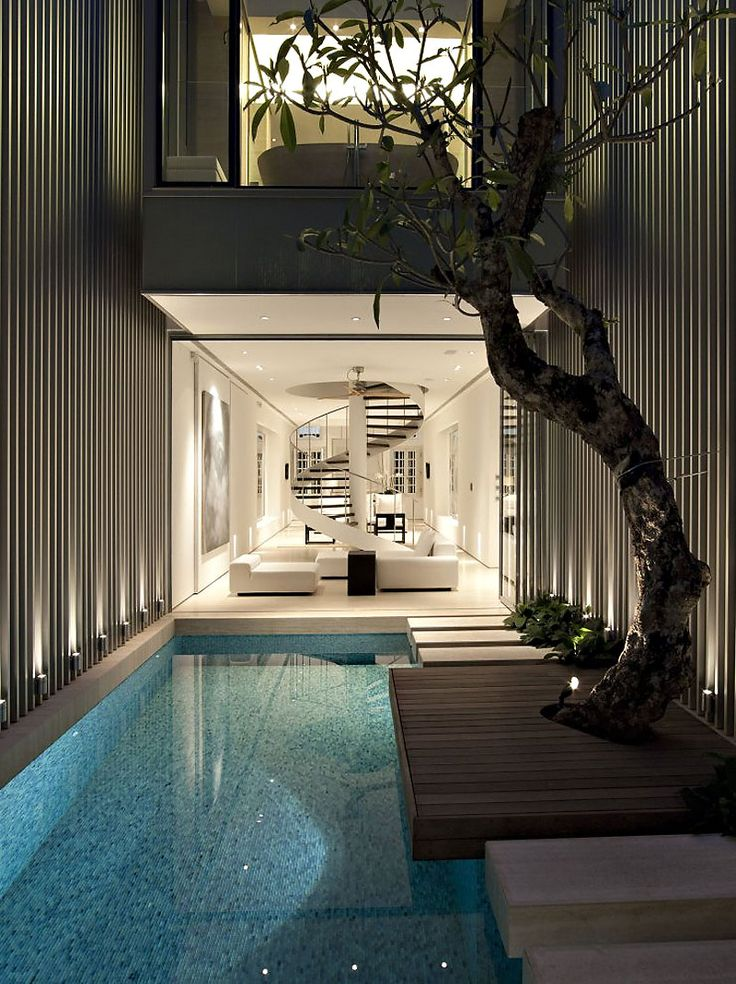 Wonderful Contemporary Residence Design with Modern Interior: Beautiful 55 Blair Road Home Design With Minimalist Indoor Pool Design And Ope...