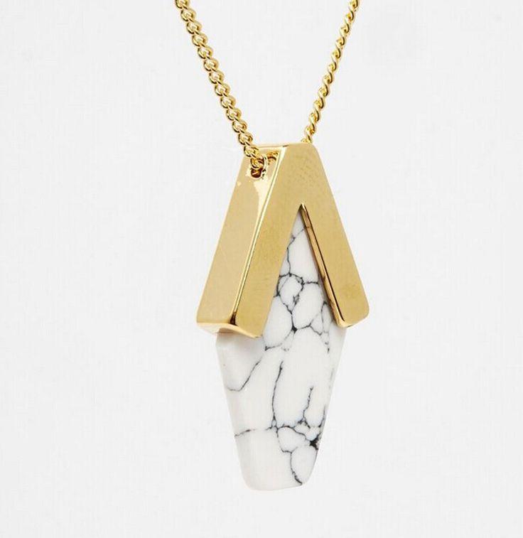 sedmart g om trique faux marbre pierre collier pendentif pour femmes plaqu or irr guli re. Black Bedroom Furniture Sets. Home Design Ideas