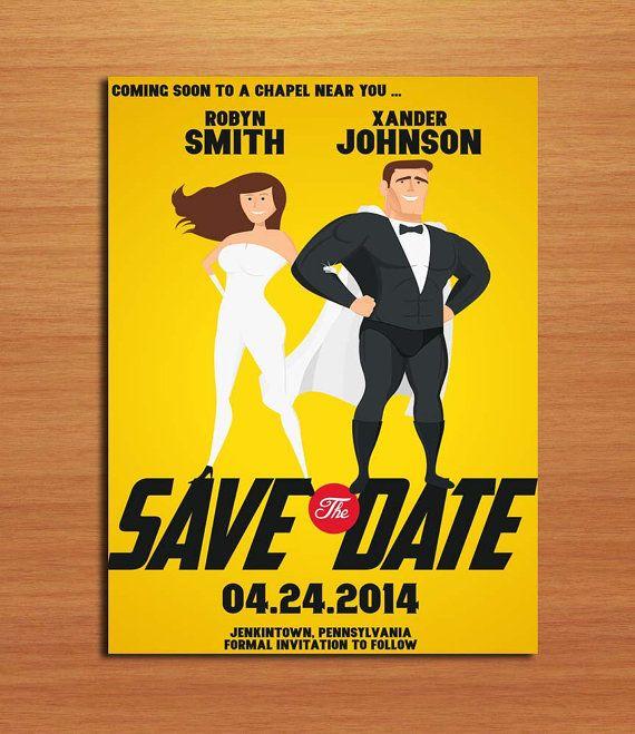 Super Hero Movie Poster Wedding Invitation By Sapphiredigitalworks
