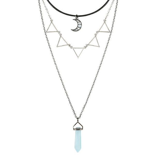 Moon Blue Crystal Triangle Layered Necklace Hot Topic ($6.80) ❤ liked on Polyvore featuring jewelry, necklaces, pendant chain necklace, crystal pendant, multi layer necklace, layered pendant necklace and crystal necklace