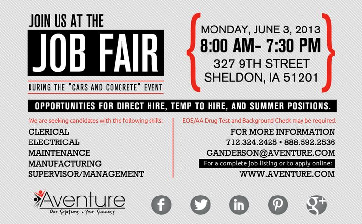 """Aventure Staffing of Sheldon, Ia, will be hosting a Job Fair during the """"Cars and Concrete"""" event on Monday, June 3."""