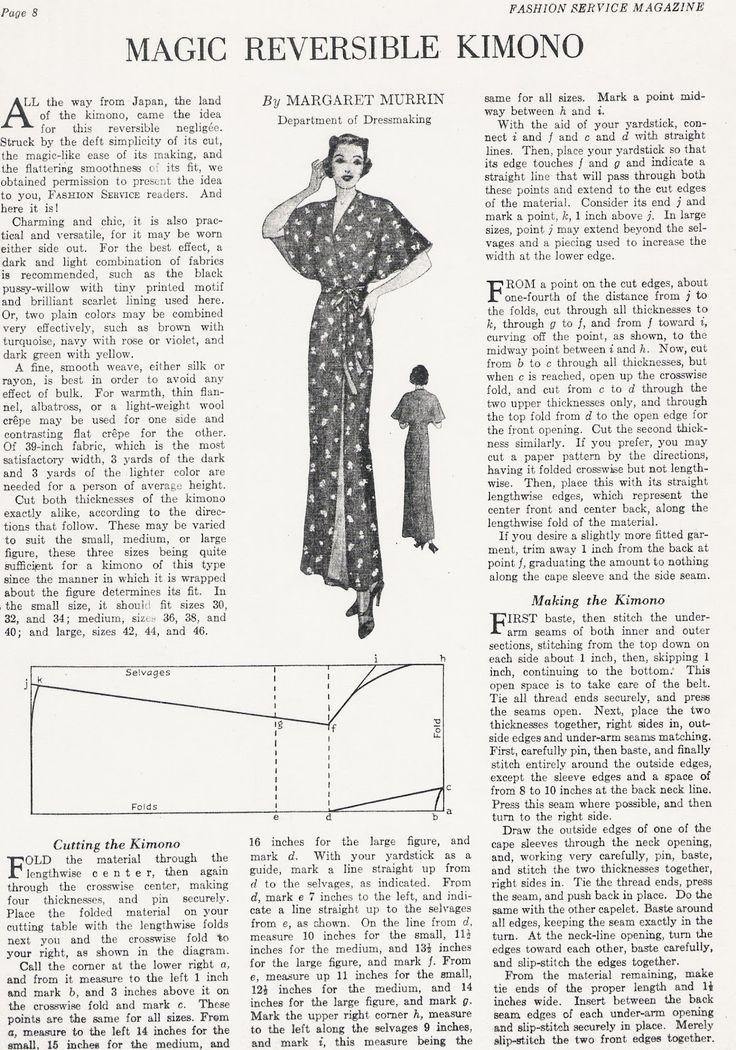 Sewing Vintage: The Magic Reversible Kimono free pattern