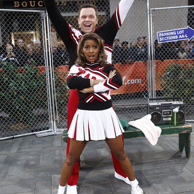 Pin for Later: Stars Show Off Sexy and Spooky Halloween Looks on Instagram  NBC's Tamron Hall and Willie Geist dressed as SNL's popular Spartans cheerleaders on Today.