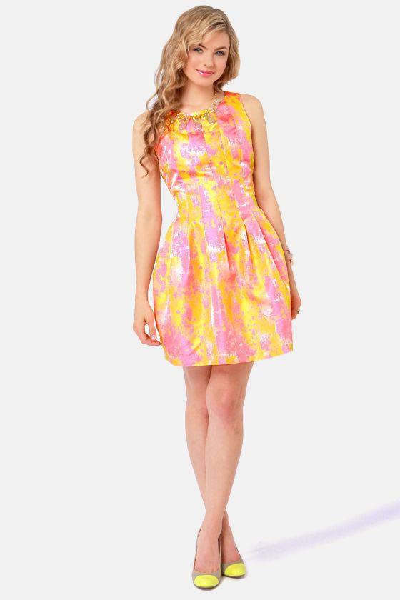 Pretty Brocade Dress - Pink Dress - Gold Dress - $56.00