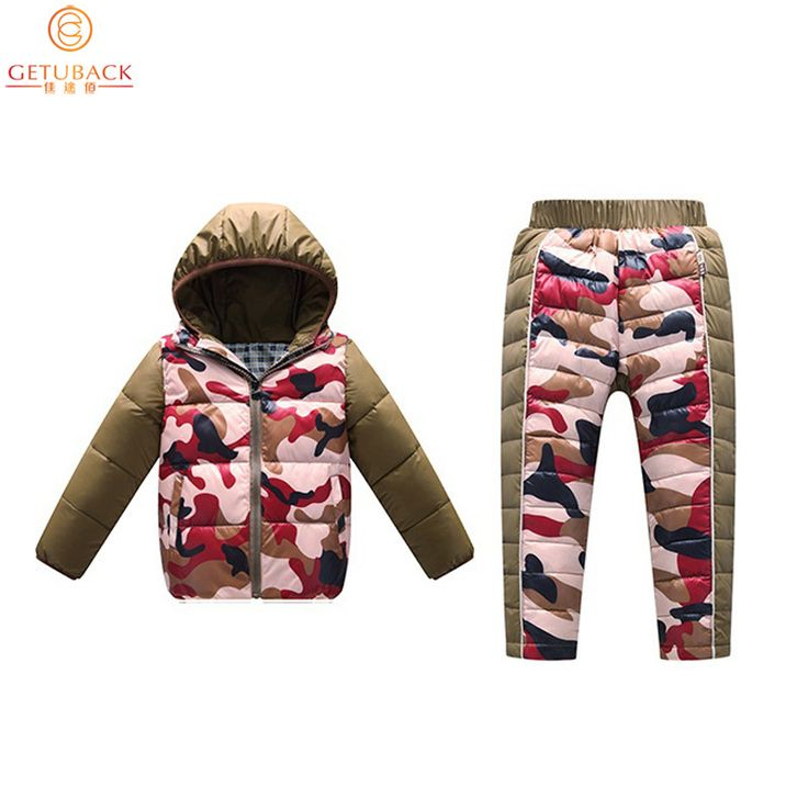 2017 Kids Down Jacket + Trousers for Winter Top Quality Boys & Girls Camouflage Thermal Clothing Suits Children Suits, HC493
