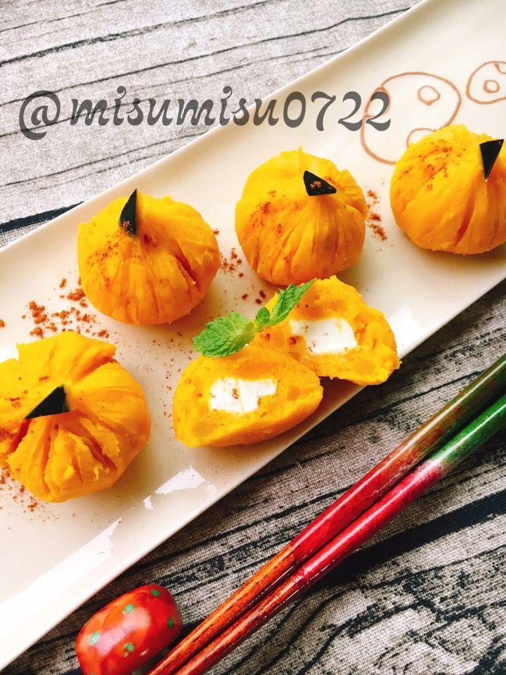 misuzu's dish photo 南瓜とクリチのスイートポテト風茶巾   http://snapdish.co #SnapDish #レシピ #簡単料理 #美容/ダイエット #ハロウィン #かぼちゃを使った料理 #チーズ