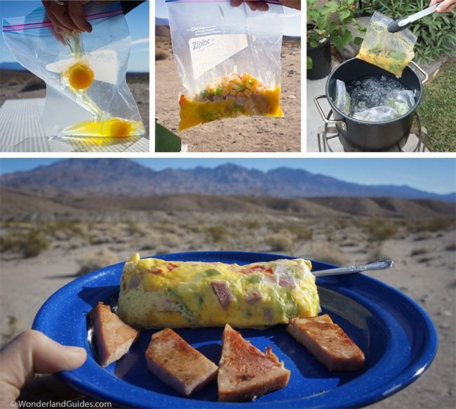 You can make an omelet with ease in a pan of water with the help of a plastic bag. -  Brilliant Camping Ideas That Work inAny Situation