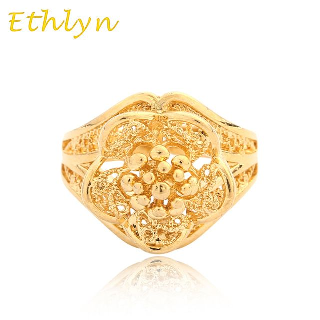 Ethlyn Etíope de Flor anel de casamento 18 k real banhado a ouro anel de tamanho livre para Árabe/Africano/Oriente médio Item dom mulheres R027