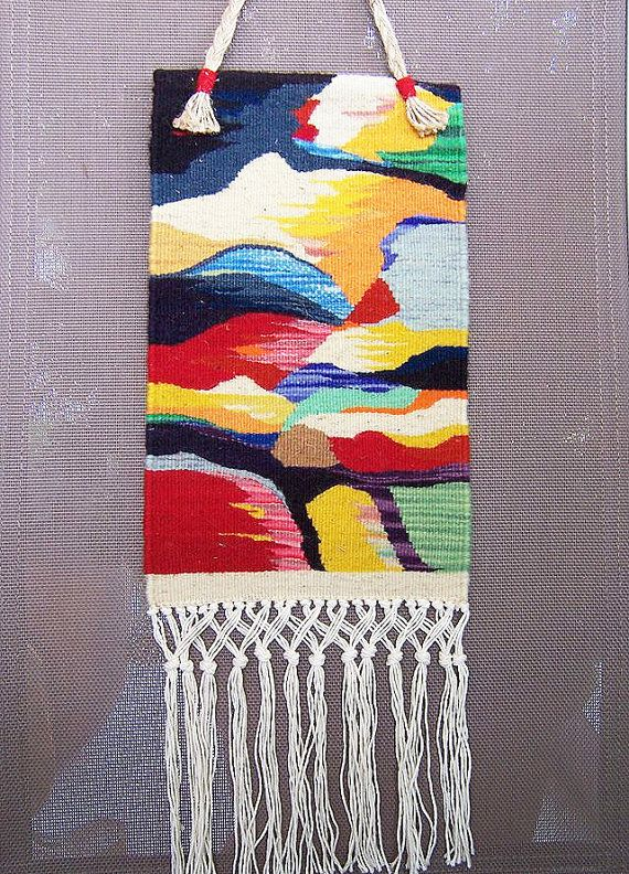 Handwoven wall hanging tapestry wool wall hanging by RugsNBags