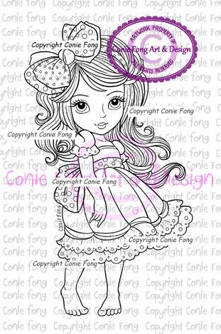 digital stamp, digi stamp, Digistamp, Bow Tie In My Hair by Conie Fong, girl…