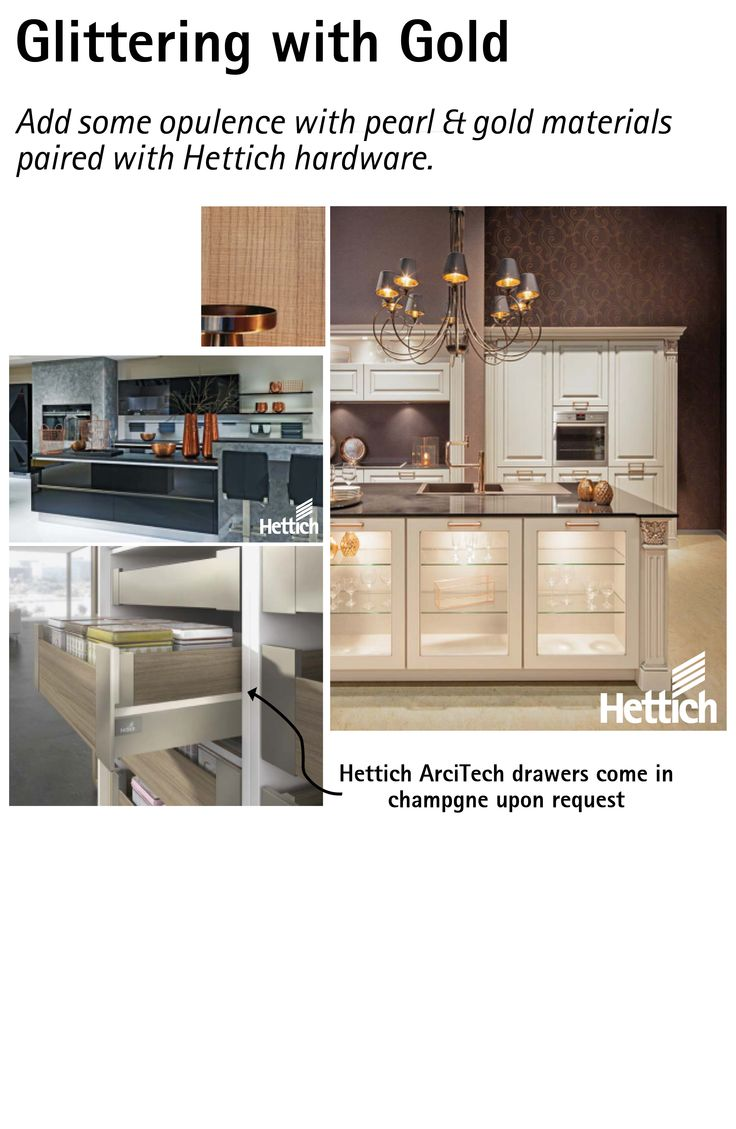 Add some opulence to your kitchen with gold & pearl materials paired with Hettich hardware. Click the pin for more inspiration.